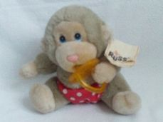 Adorable Vintage 'Russ Monkey' Caress Plush Toy + Tag
